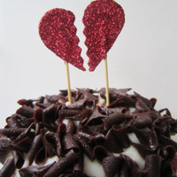 Anti Valentines Day. Broken Glitter Red or Black Heart Cupcake Toppers. 20 pieces