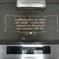 Kitchen Definition Wall Decal - Wall Art - Home Decor - Wall Decor - Gift Idea - Kitchen Decal - Kitchen Quote