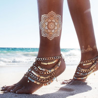 New Stunning Golden Anklet  With Multi-Layered Tassels & Sequined Chains