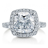 Cushion Cut CZ Sterling Silver Halo Cocktail Ring