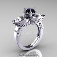 Art Masters Classic Winged Skull 14K White Gold 1.0 Ct Black White Diamond Solitaire Engagement Ring R613-14KWGDBD
