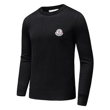 MONCLER 2018 autumn and winter new comfortable casual loose long-sleeved round neck pullover sweater black