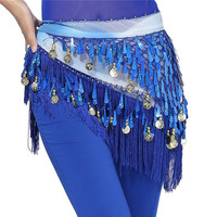 Belly Dance Hip Skirt Scarf Wrap Waist Belt Three Layers Gold Coins Sequins S52 NW