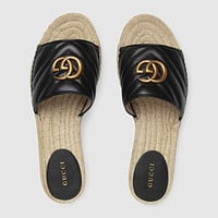 keniii  Givenchy  YSL  DIOR  LV  GG Men's and women's  LEATHER ESPADRILLE SANDAL
