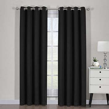 Black 54x84 Ava Blackout Weave Curtain Panels With Tie Backs Pair (Set Of 2)