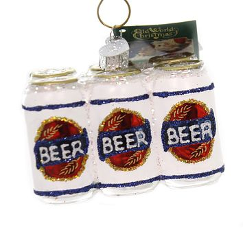 Old World Christmas SIX PACK OF BEER Glass Ornament Alcohol Party 32333