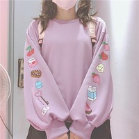 Cute Cartoon Pattern Loose Sweatshirts For Kawaii Girl Long Sleeve Pullover Lolita Autumn Women Clothing