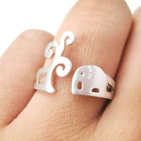 Elephant Under A Tree Animal Ring in Silver | Sizes 5 to 8 US Available