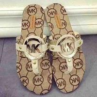 MK Fashion Women Letter Print Flat Sandal Slipper Shoes Apricot
