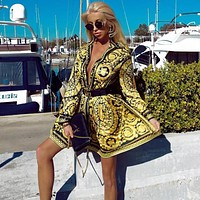 VERSACE Women Retro Long Sleeve Dress