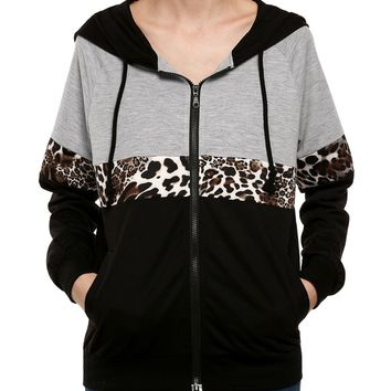 Color Block Leopard Pocket Hoodie