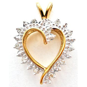 10K Gold Diamond Heart Pendant Vintage