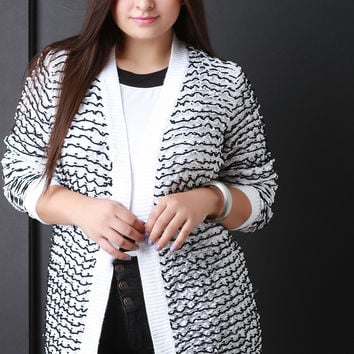 Two Tone Knit Open Front Cardigan