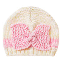 White & Pink Bow Knit Beanie