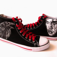 Custom handpainted shoes,The Crow Fanart shoes, custom snekers