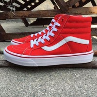 Vans Red And White High Top Sneaker Flats Shoes Canvas Sport Shoes