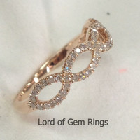 Pave Diamond Wedding Band Half Eternity Anniversary Ring 14K Rose Gold Floral Curved