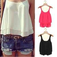 Women Loose Chiffon Sleeveless Vest Shirt Summer Casual Tops Blouses