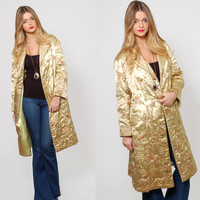 Vintage 60s ASIAN Jacket Gold SATIN Ethnic QUILTED Coat Embroidered Floral Kimono Jacket Boho Duster