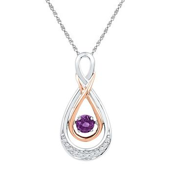 Sterling Silver Womens Round Lab-Created Amethyst Solitaire Diamond Pendant 1/4 Cttw
