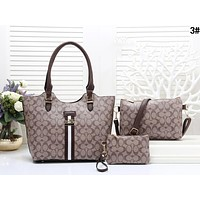 Samplefine2 COACH Women Shopping Leather Tote Crossbody Satchel Shoulder Bag Set Three Piece 3#