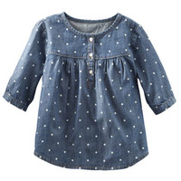Chambray Polka Dot Top