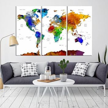 98876 Watercolor 3 Panel World Map Print Framed Ready to Hang