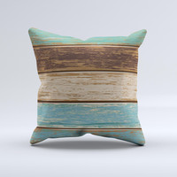 Wooden Planks with Chipped Green and Brown Paint ink-Fuzed Decorative Throw Pillow