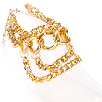 """9"""" gold anklet multi chain link chunky"""