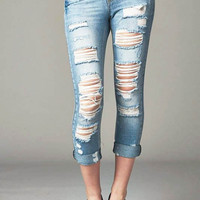 Cello Distressed Slim Straight Boyfriend Jeans