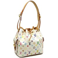 Auth LOUIS VUITTON Petit Noe Multicolor Handbag Shoulder Bag M42229 Blanc/59662