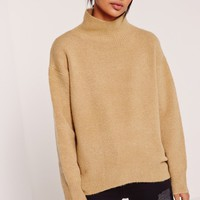 Missguided - High Neck Dip Hem Brushed Jumper Camel