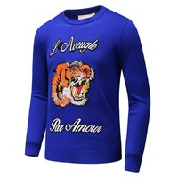 GUCCI autumn and winter embroidered tiger head casual self-cultivation sleeve round neck long-sleeved sweater Blue