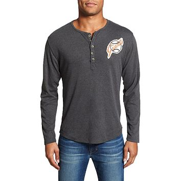 San Francisco Giants - Chest Logo Primo Adult Henley Long Sleeve T-Shirt