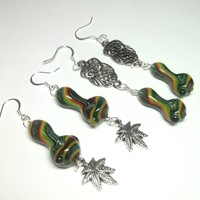 Mini Pipe Bead Earrings, RASTA MONEY, Options for Kush Leaf Charms, Owls, or No Charms
