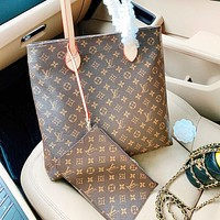 LV New fashion monogram print leather shoulder bag handbag crossbody bag two piece suit bag