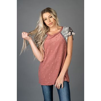 Distressed Knit Top in Charcoal or Marsala (S-XL)