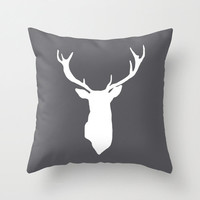Deer Antlers Pillow Cover - Charcoal Dark Grey - Rustic Decor - Accent Pillow - Decorative Pillow - Cabin Decor - By Aldari Home