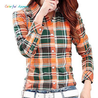 Colorful Apparel New Casual Button Down Lapel Neck Plaids Checks Flannel Shirts Women Long Sleeve Tops  CA62A