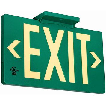 UL Listed 50 foot Jessup Glo Brite 7042-B 8.75-x-15.5-Inch Double Sided Exit Sign with Frame, Green (Mounts 4 ways, includes bracket and arrows) PF50, 50 Foot Viewing Distance, Double Sided