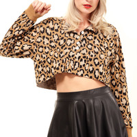Vintage Leopard Cropped Sweater