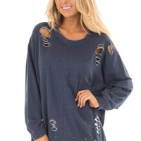 Navy Long Sleeve Distressed Knit Sweater