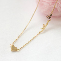 Tiny heart and Love You Necklace in gold by laonato on Etsy