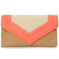 On My Side Brown and Neon Coral Purse