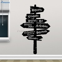 Harry Potter Wall Decal - Hogwarts Road Sign - Decor