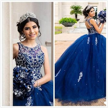 Luxurious Beaded Crystals Lace Blue Quinceanera Dresses Crew Backless Tulle Ball Gown Prom Party Gowns Sweet 16 Dress