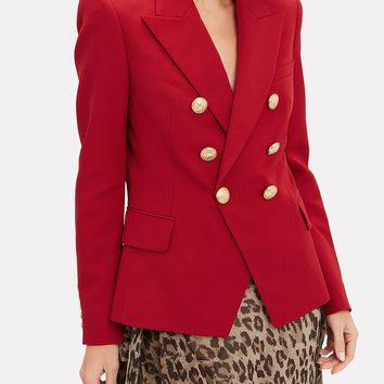 Classic Double-Breasted Red Blazer
