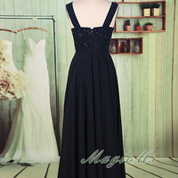 A line dark navy chiffon and lace beading long mother of bride dress, Chiffon dark navy jewel open back bridesmaid dress