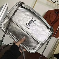 YSL Trending Women Stylish Leather Shoulder Bag Crossbody Satchel Silvery I-AGG-CZDL