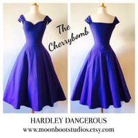 Pin Up PERIWINKLE Purple Swing Dress, Rockabilly Bridesmaid Pinup Wedding Special Occasion Party Dress, Capped Sleeved